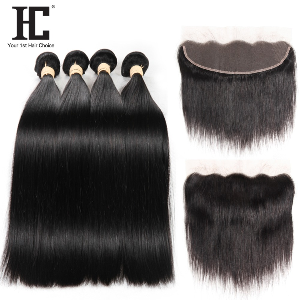 Straight Brazilian 4 Human Hair Bundles With 13x4 Ear To Ear Lace Frontal Closure Non Remy Hair Weave Bundles With Closure HC