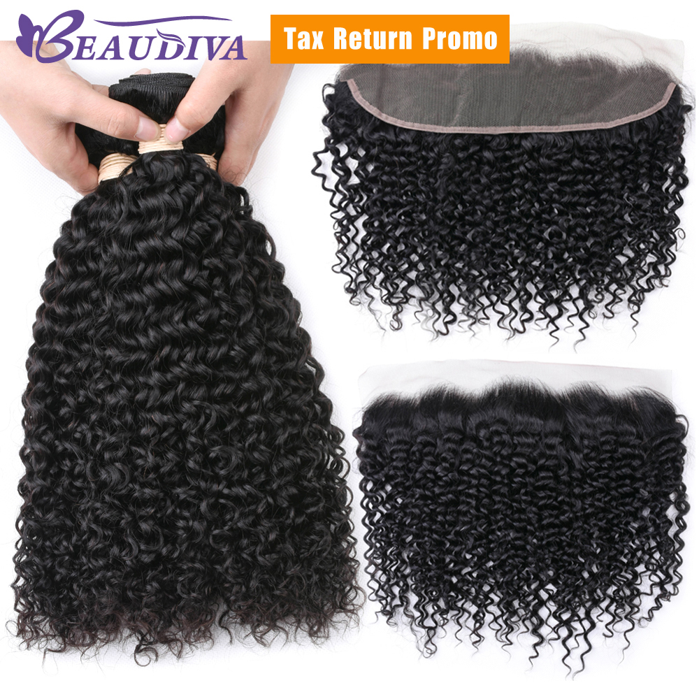 BEAUDIVA Brazilian Human Hair Weave 3 Bundles With Lace Frontal Water Wave Natural Color Remy Hair