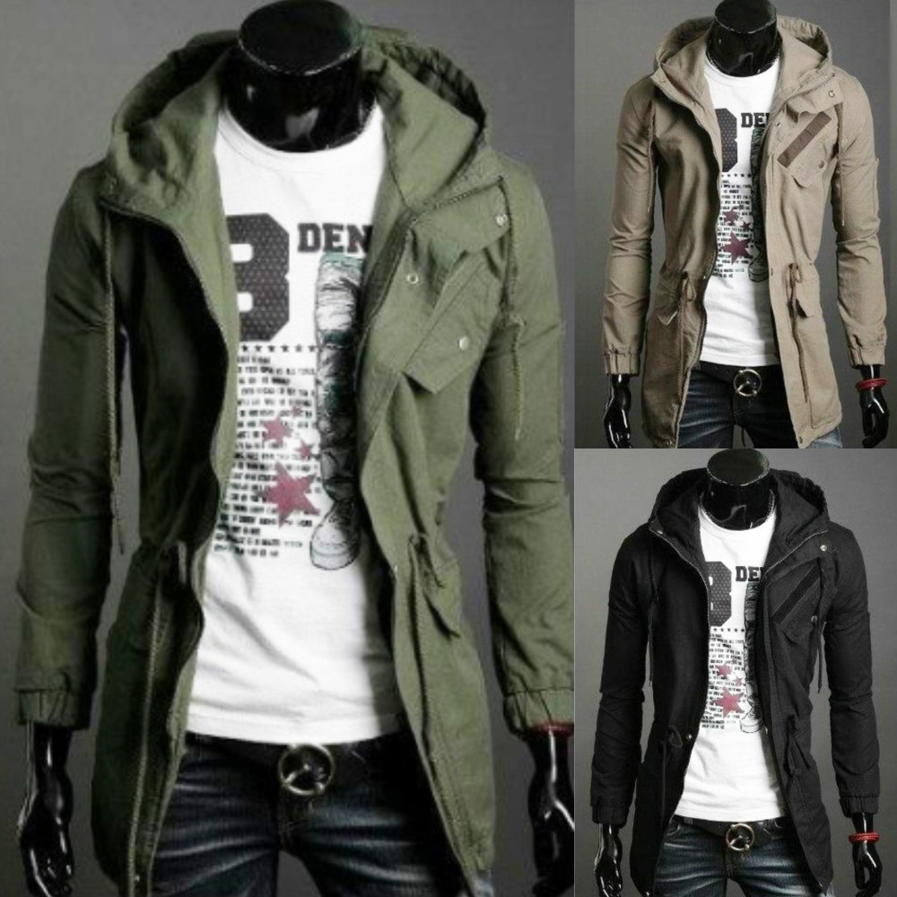 Cheap Classic And Long Sections Military Army Green Coat Hooded Jacket European Style Clothing