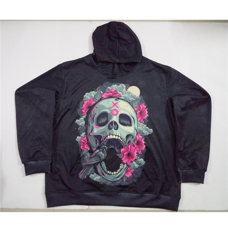 Real American size Xo Skull Love x Roses 3D Sublimation Print OEM Hoody/Hoodie Custom made Clothing plus size