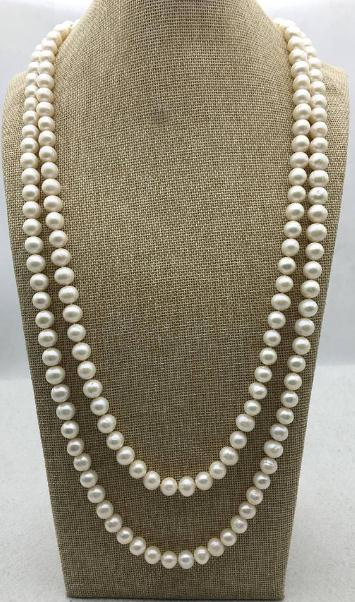 65 inches Long Pearl Jewelry White Color Freshwater Pearl Necklace,AA 10-11MM Genuine Pearl Jewelry,Love,Mothers Day Gift 16 inches aa 10 11mm natural white round freshwater pearl loos strand