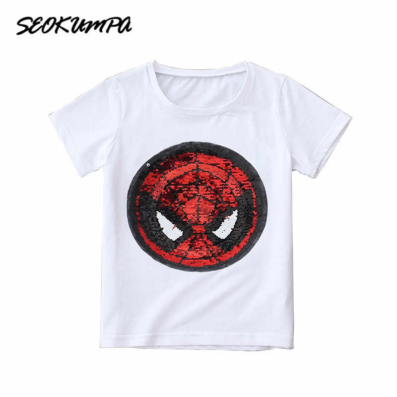 0d129a4b 2018 New Cartoon Dog T-shirt For Boy Girls Short Sleeves 100% Cotton Sequin