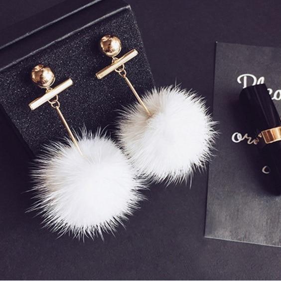 2016 Корейской Зимой Модные Аксессуары Темперамент Металлический Шар Стиль Милые Pom Pom Brincos Для Женщин ED014