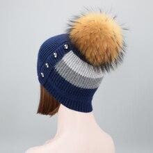 Зимние вязаные шерстяные шапки для женщин меховым помпоном Skullies шапочки шляпу женские теплые шапки с натурального енота меховые шапки