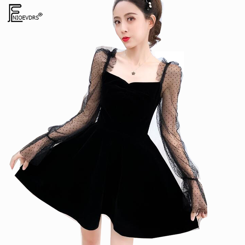 2019 New Year Dresses Party Club Women Perspective Flare Sleeve Holiday Date Little Black Patchwork Sheer Mesh Strapless Dress