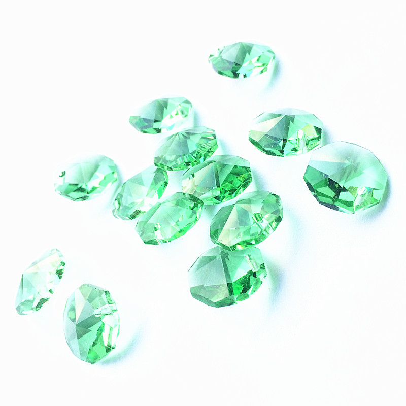 Free Shipping 100pcs/lot 14mm Light Green Crystal Octagon Beads In One Hole For Chandelier Pendants Glass Curtain Beads Supplies