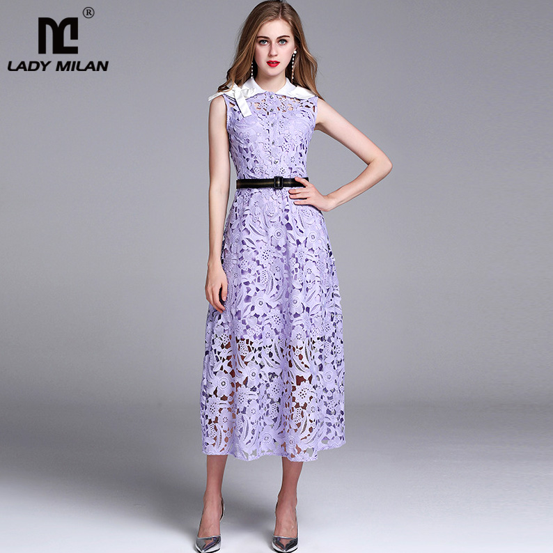 New Arrival Women s Detachable Turn Down Collar Sleeveless Hollow Out Lace font b Prom b