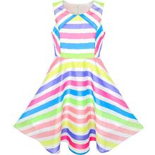 Girls Dress Colorful stripe Beach Sundress 2018 Summer Princess Wedding Party Dresses Girl Clothes Size 6-12 Pageant Vestidos