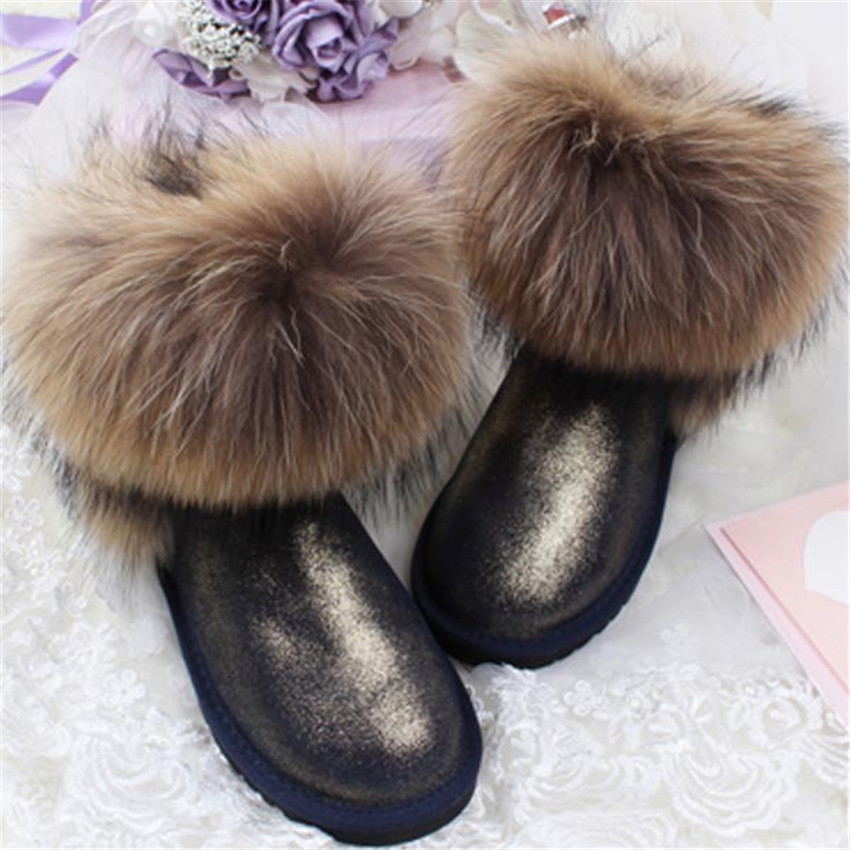 все цены на CUWHF Ankle Boots 2018 Warm Women's Snow Boots Cowskin Woman Genuine Leather Snow Boots 100% Natural Fox Fur Woman Winter Boots