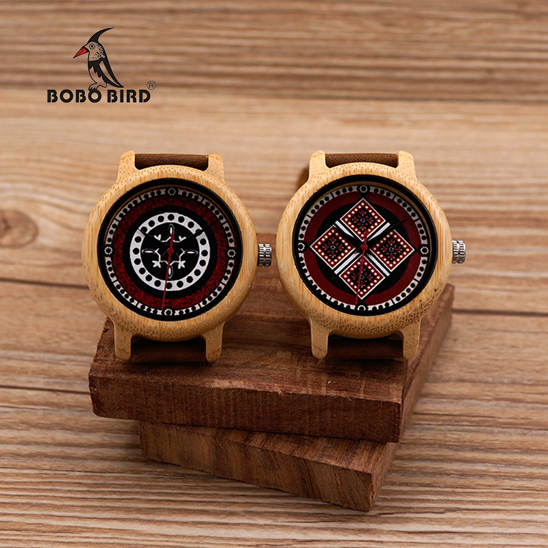 BOBO BIRD J19 J20 Ladies Color Print on Dial Face Bamboo Case Watch Quartz Watches
