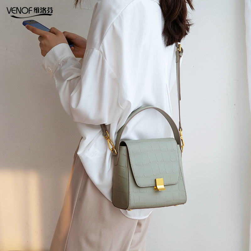 VENOF 2019 fasion genuine leather Alligator Pattern lady bucket bag women Shoulder crossbody bags elegant Female
