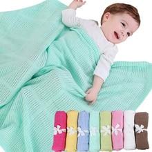 Infant Baby Hole Blanket Swaddle Wrap Newborn Blankets Muslin Crochet Cotton Air Conditioning Sleeping Blanket Stroller Blanket цена