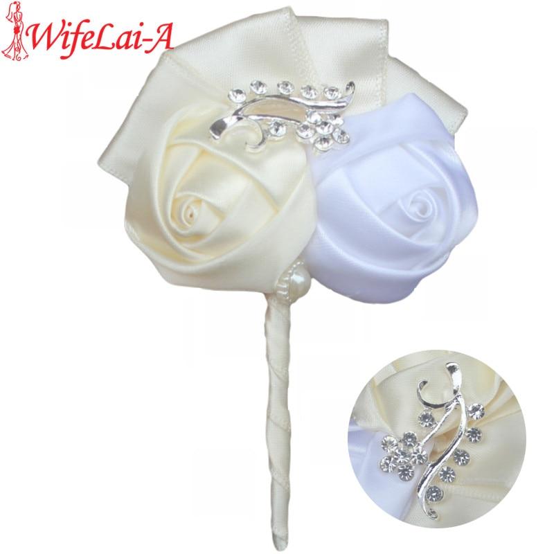NaineLai-A tume punane teemant pulmakoolid Boutonniere peigmehe pulm lilled Boutonniere pross lillepintsel