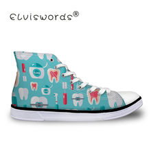 ELVISWORDS Canvas Shoes Girls Teeth Print Sneakers Students Vulcanize Shoes Flats Comfortable Kids Footwear White Slip On shoe(China)