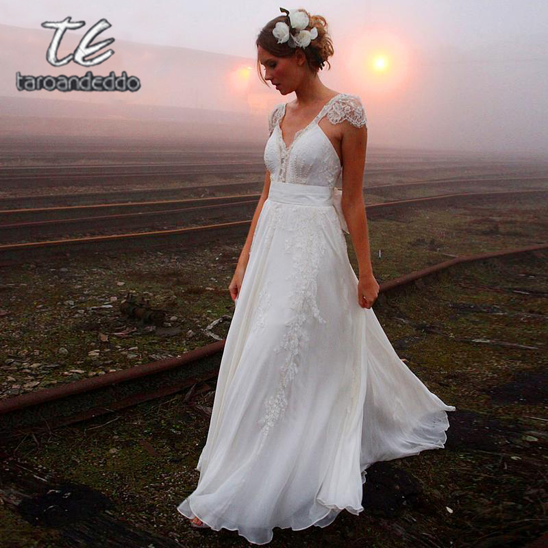 V Neck Backless Wedding Dresses Zipper Back Cap Sleeve Lace Appliques A Line Bridal Gown Dress With Court Train And Bow