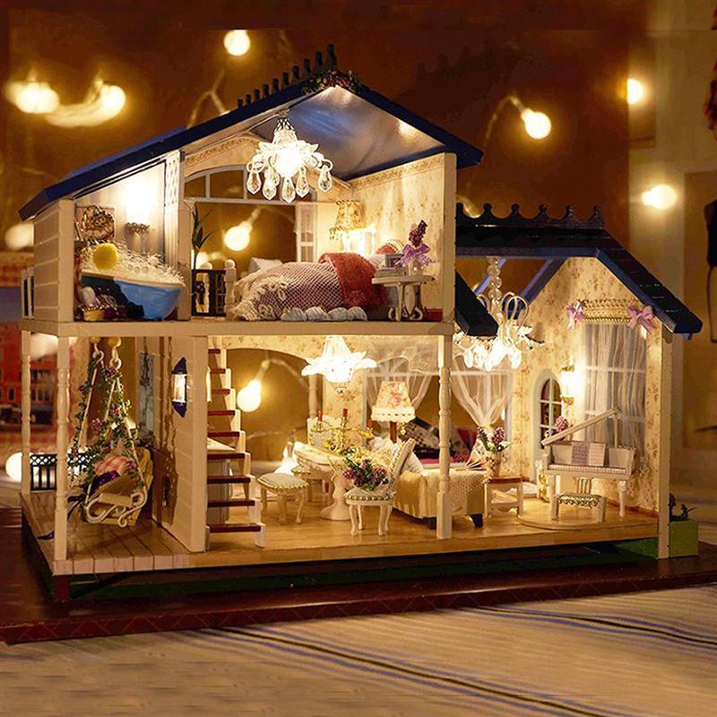 Музыкальный светодиодный светильник Миниатюрный Кукольный дом Прованс кукольный домик DIY Kit деревянная модель дома игрушка с мебели на день рождения рождественские подарки