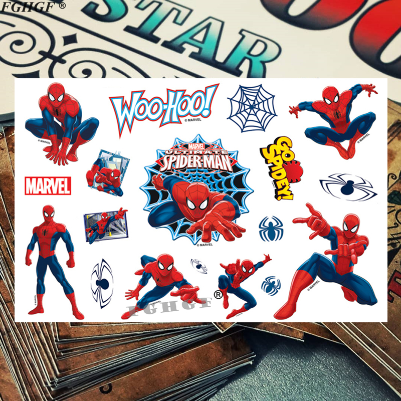 Cute 3d Kids Spider Superman Child Temporary Body Art Flash Tattoo Sticker 17*10cm Waterproof Painless Tattoo Free Shipping
