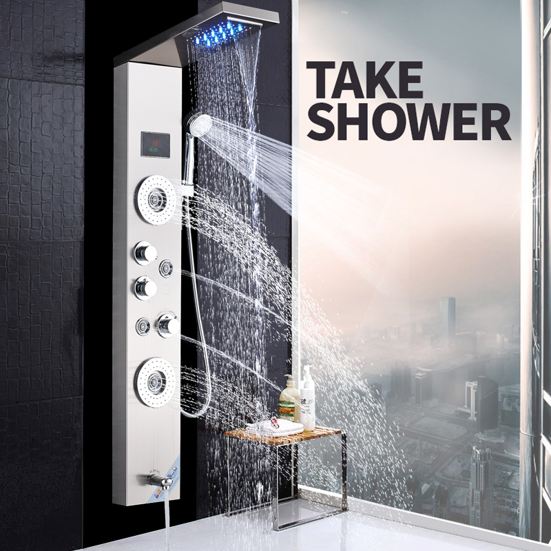 Brushed Nickel Shower Column Faucet Led Light Wall Mount Bathroom Bath Shower System SPA Massage Sprayer Temperature Screen Show brushed nickel shower panel wall mount waterfall rain shower mixer faucet stainless steel spa massage sprayer shower column tap
