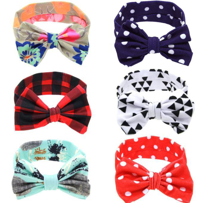 1 PC Floral Headband Children Girls Bow Knot Headband Elastic Hairband Soft Turban Headwrap Hair Accessories Six-color Hair Band