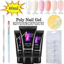 Ensemble de Gel pour ongles, 6 couleurs, 60g, cristal, Extension, UV, constructeur acrylique