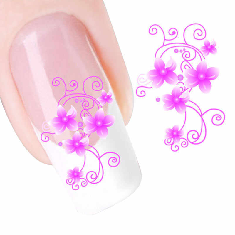 2018 Fashion Nail Art FAI DA TE Fiore Rosa Acqua Trasferimento Scivolo Decal Sticker Nail Art Suggerimenti Per La Decorazione Punte B # dropship 1107