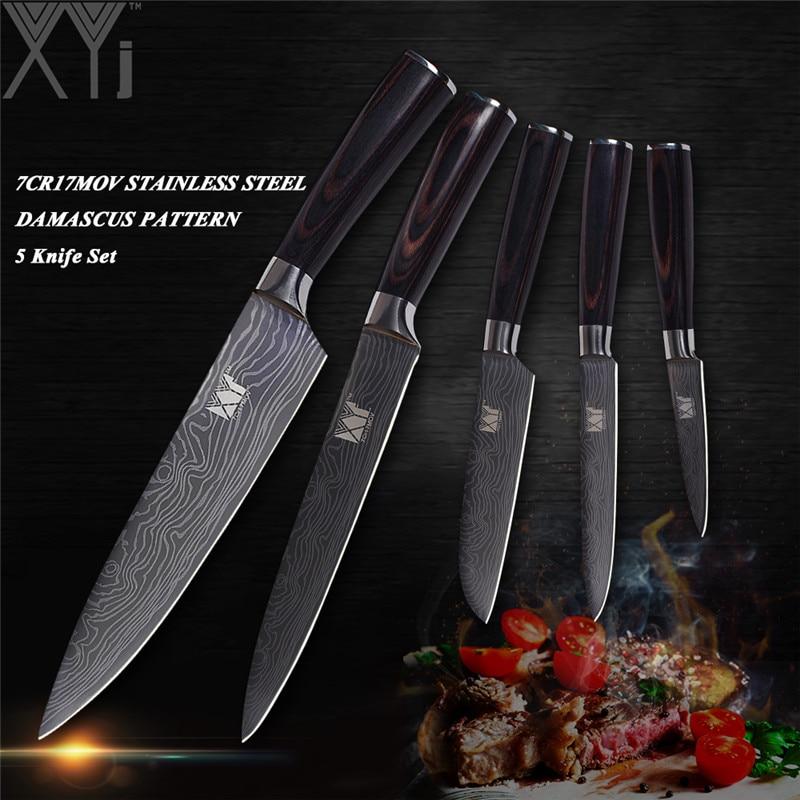 XYj 7Cr17Mov 440A Acier Inoxydable Couteaux de Cuisine 3-5 PCS Ensemble Épluchage Utilitaire Santoku Tranchage Couteau de Chef Couteaux De Cuisine en gros