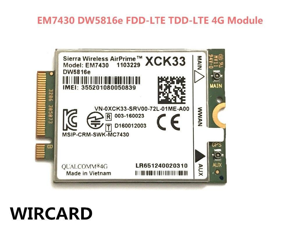 WIRCARD for EM7430 DW5816e GOBI6000 cat6 300M 4G LTE WWAN DW5816e for 7280 7285 7290 7389