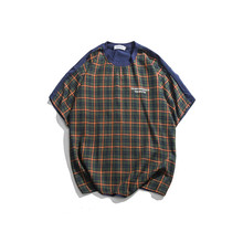 2019 Summer Men Literary Plaid Loose T-shirt Casual Letter Embroidery Fashion New