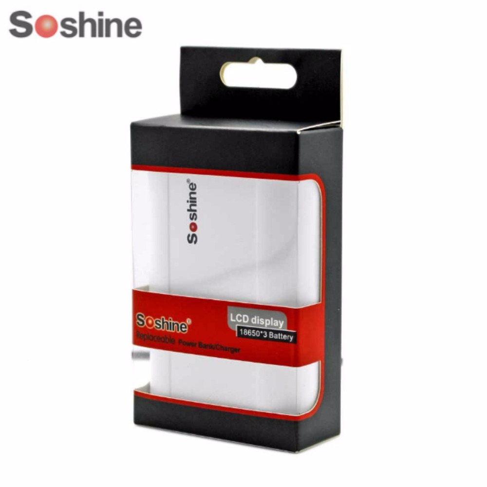 Soshine E5 LCD Dual USB Power Bank 18650 Battery Charger Mobile Charger with USB Cable White Color