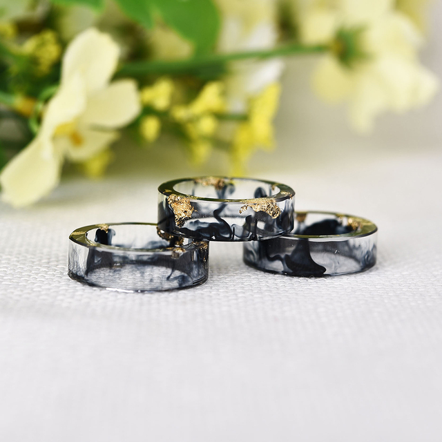 LIEBE ENGEL Hot Sale 8 Colors Gold Foil Paper Inside Resin Ring For Women And Men Jewelry Colorful High Quality Handmade Ring 3