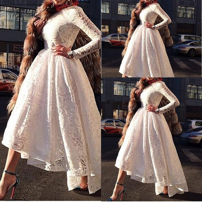 High Low Modest Formal Gowns Arabic Style Custom Made Crew Neckline White Lace Long Sleeve Evening Mother Of The Bride Dresses