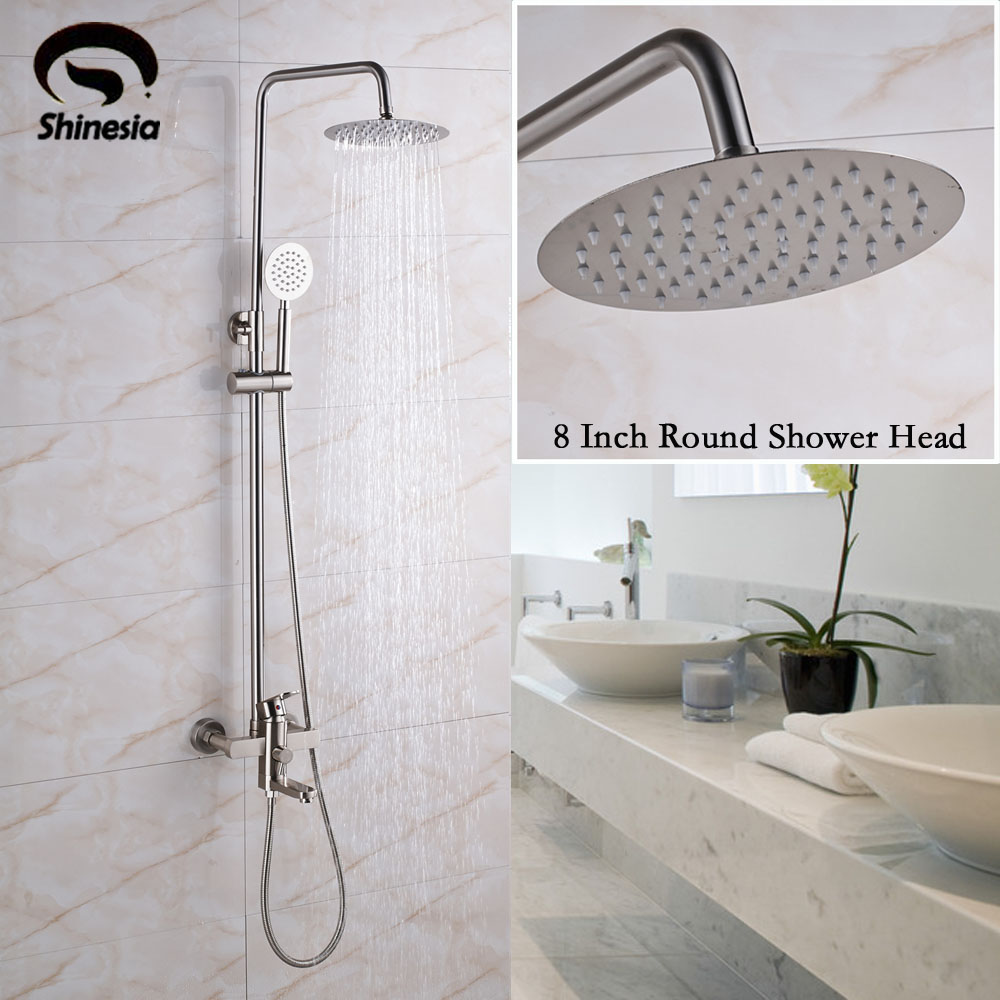 8 inch shower head brushed nickel shower faucet single - 8 inch brushed nickel bathroom faucet ...