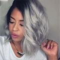Мода лучший Боб фронта шнурка ombre серый человеческих волос парики бразильский серый ломбер боб парик полный шнурок человеческих волос парик два тона парики боб