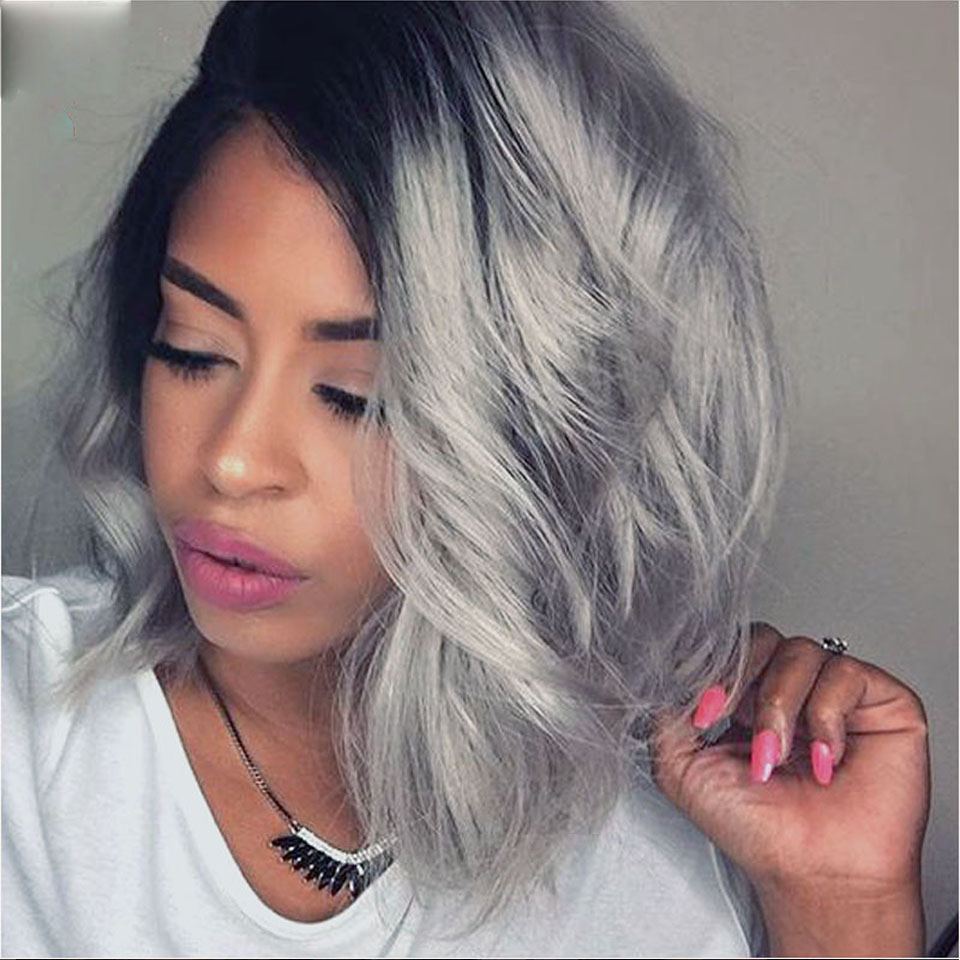 Fashion Best Bob Lace Front Ombre Grey Human Hair Wigs
