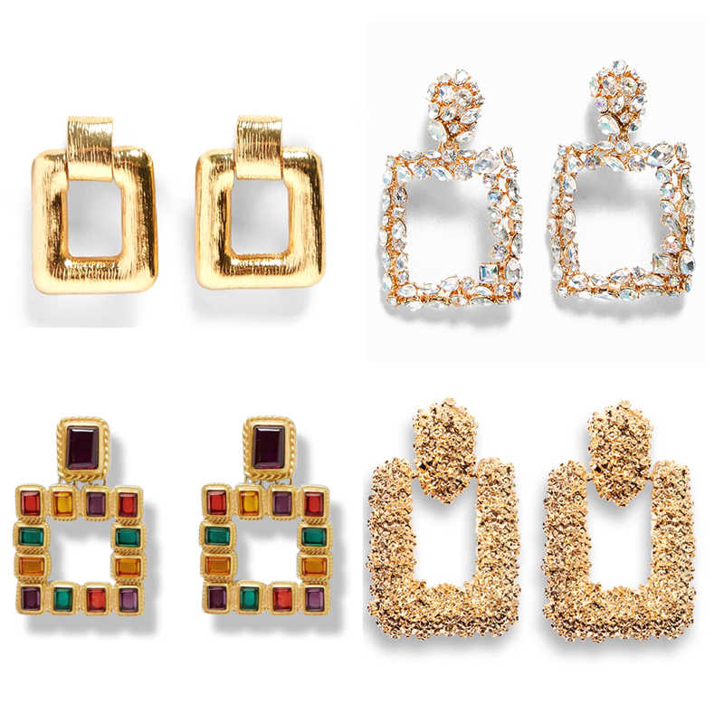 Ztech Za Square Crystal Dangle Drop Earrings Fashion Geometric Gold Color Punk Maxi Pendant Earring For Women Party Jewelry