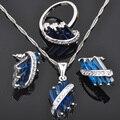 Alta Calidad Azul Cubic Zirconia Plata Juegos de Joyería Colgante Collar Pendientes Anillos Para Las Mujeres Envío Gratis JS008