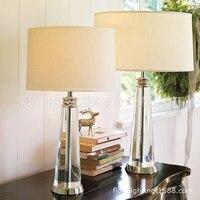 Современный простой кристалл настольная лампа для Гостиная Спальня цилиндрический конус Прозрачный Кристалл Настольная лампа американск