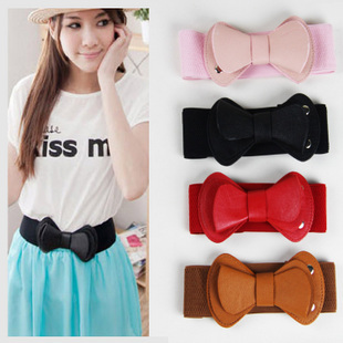 Free Shipping New Cummerbunds Fashion Lovely Female Punk Trench Cummerbund Big Bow Wide Leather Waist Belt Strap Gifts For Women