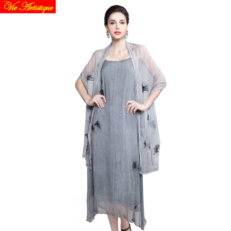 women's silk render skater dress short sleeve office grey long beach braces dresses large plus size printed chiffon loose summer