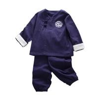2018 de Primavera de Los Niños Bebé de Los Muchachos de Manga Larga Retro estilo Chino Camiseta Tops + Pants 2 unids Ropa Casual Establecen traje MT1567