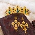 Lujo barroco joyería vinchas corona de oro y aretes accesorios nupciales del pelo accesorios actuaciones nocturnas