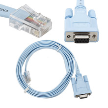 Cable de consola RJ45 Cat5 Ethernet a Rs232 DB9, puerto COM, enrutador hembra Serial, adaptador de red azul, 1,8 m, 6 pies