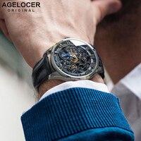 AGELOCER черные скелетные водонепроницаемые мужские часы из телячьей кожи наручные обыденные часы Relogio Masculino Erkek Kol Saati