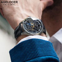 Agelocer黒スケルトン男性は防水パネライ時計カジュアル腕時計時計レロジオmasculino erkek kol saati