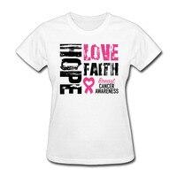 Womens Fede Speranza Amore Breast Cancer Awareness graphic manica corta Magliette di cotone Bianco