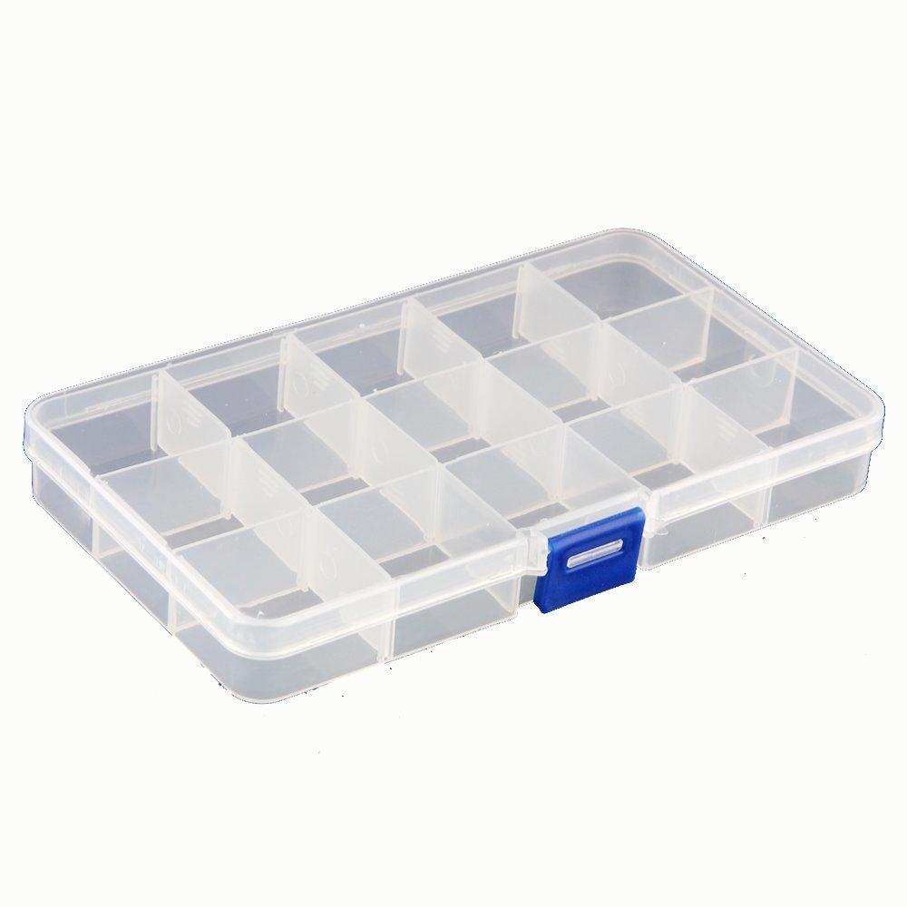 fjs 15 compartiments boite de rangement en plastique boite a bijoux en plastique coffret a