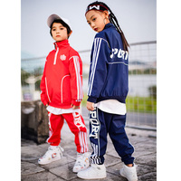 new girl and boy Hiphop street dance costume jacket pants set children sport wear clothing 100 170cm height