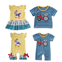 цена на Baby Girl Clothes Newborn Cloth Toddler Baby Girl Boy Clothes Sister Brother Matching Stripe Romper Dress Tee Baby Boy Clothes