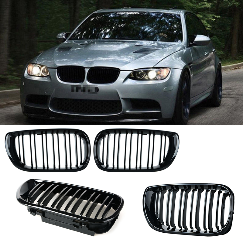 1pair Grille For BMW 3 series E46 4 Doors 02 05 gloss black Car Front Center Wide Kidney Double slat Racing Grill Car styling 8P