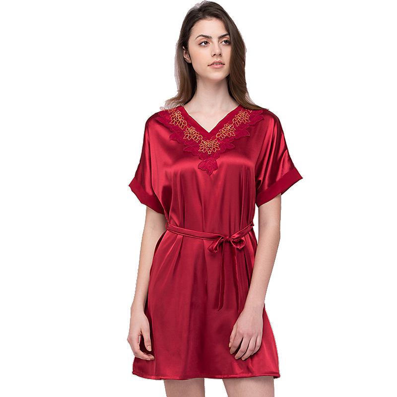 Junoesque Summer Women V Neck Loose Night Dress Female Sexy Intimate chiffon Lacy Short   Nightgown   Vestido   Sleepshirts